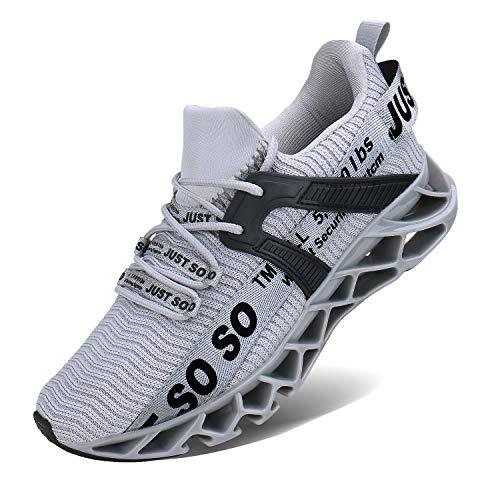 JSLEAP Sportschuhe Herren Laufschuhe Damen Turnschuhe Freizeitschuhe Atmungsaktiv Sneakers Mode Straßenlaufschuhe (2 Grau,Größe 43 EU/265 CN)