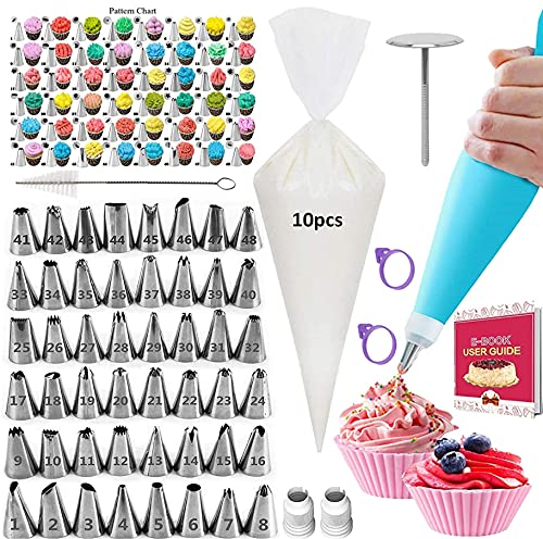 Piping Bag and Tips Set, 65Pcs Cake Piping Set for Baking with Reusable Piping Bags and Tips, Standard Converters, Silicone Rings, Decorating Supplies for Deviled Egg, Cake, Cupcake and Cookie Icing