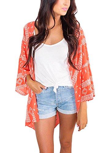 Walant Rétro Élégant Gilet Plage Kimono Femme Veste Cardigan en Mousseline d'été Floral Lâche Demi-Manches de Mode Blouse Châle Sexy Bikini Beachwear, Orange, Taille unique