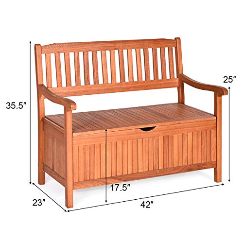 Tangkula Wooden Outdoor Storage Bench Large Deck Box, Entryway Storage Bench w/Inner Removable Waterproof Lining and Portable Handles for Patio Garden Balcony Yard (Natural)