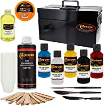 Custom Shop Pinstriping Deluxe Box Kit - 5 Colors, Tape, Chart, Reducer, Starter set of (3) Custom Shop Striping Brushes, Mix Sticks and Mixing Cups - Storage Box