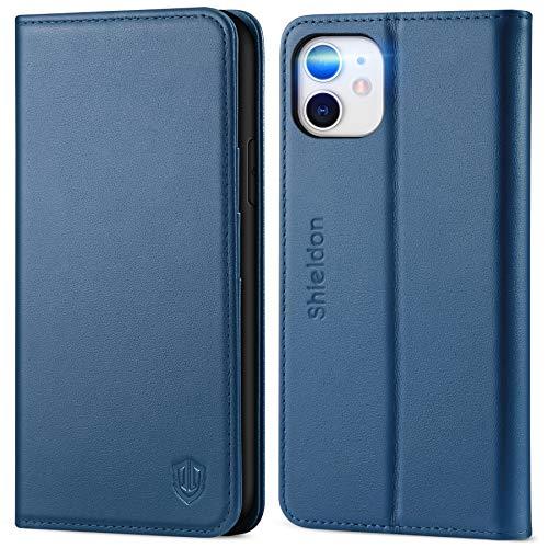 SHIELDON iPhone 11 Hülle, TPU Handyhülle [Echtes Leder] [RFID Schutz] [Lifetime Garantie], Magnetische Schutzhülle [Kartenfach] [Standfunktion] Stoßfeste Tasche Kompatibel für iPhone 11 6,1 Königsblau