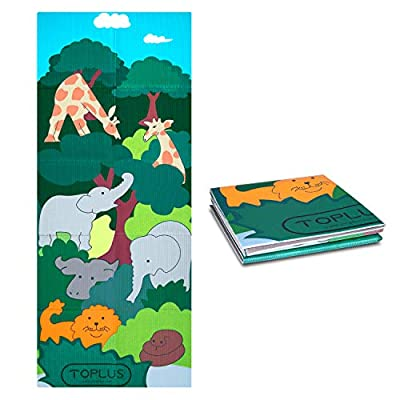 TOPLUS Kids Yoga Mat Foldable Exercise Mat, Yoga for Kids with Fun Prints Reversible, Eco-Friendly, Non-Toxic, Non-Slip, Best Gifts for Babies, Active & Calm Toddlers and Young Children