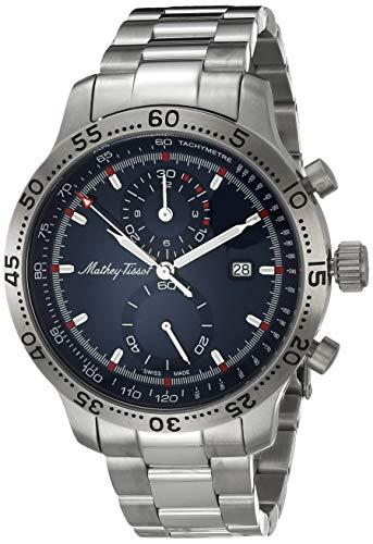 MATTHEY-TISSOT Correa de acero inoxidable de cuarzo para hombre, plata, 20 reloj casual (Modelo: H1823CHABU)