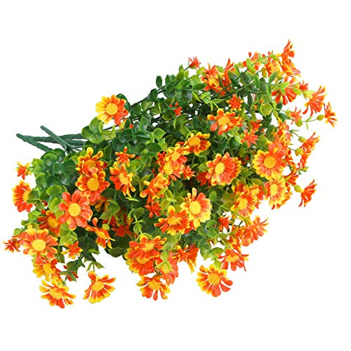 Greentime 6 Bundles Artificial Flowers Mums for Outdoors,Boxwood Shrubs UV Resistant,Fake Hanging Plants Fall Flowers Artificial for Decorations Indoor Farmhouse Home Garden Party Porch Desk(Orange)