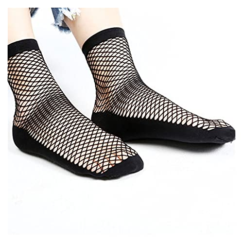 JR2021FF Mujeres Sheer Socks Calcetines de Rosca Ruffe Tobillo Alto Calcetines Arco Malla Encaje Peces Red calcetín Corto Medias 2 Pares (Color : Black, Size : One Size)