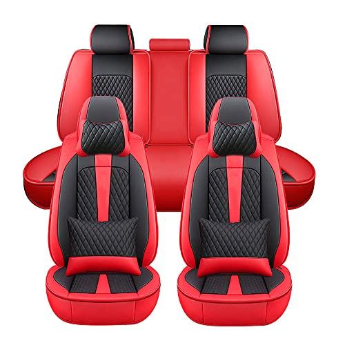 Maidao - Coprisedili Universali per Auto, per Ford Fiesta Set Completo di Fodere per Seggiolino Auto, Protezioni per la Parte Anteriore e Posteriore con poggiatesta e Cuscino Lombare - Nero Rosso