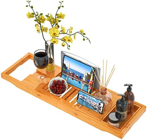 Expandable Bathtub Caddy Tray Bamboo Bath Tray for Tub with Wine Holder Phone Slot and Adjustable product image