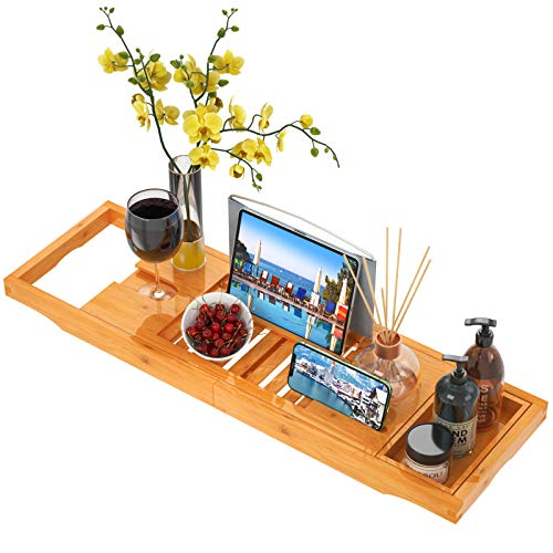 Bath Tray for Tub Bamboo Bathtub Tray Caddy Expandable Wood with Wine Glass Holder, Reading Holder, Phone Slot for Luxury Bath by FURNINXS