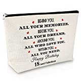 18th Birthday Gifts Makeup Bag Daughter Birthday Gift from Mom and Dad Cute Cosmetic Bag for Friend Encouragement Gift for Girl Christmas Graduation Inspirational gift Travel Cosmetic Pouch
