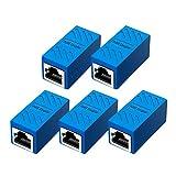 RJ45 Coupler Ethernet Extension Connector, Cat7 Cat6 Cat5e Ethernet Coupler Female to Female(Blue 5 Pack)