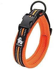 cocomall 犬首輪 犬の首輪 犬用訓練首輪 小型、中型、大型犬用首輪 ペット用品  3M反射材料  ナイロン製  通気性  弾力性 ソフト 調節可能   ハーネス リード(M, オレンジ)