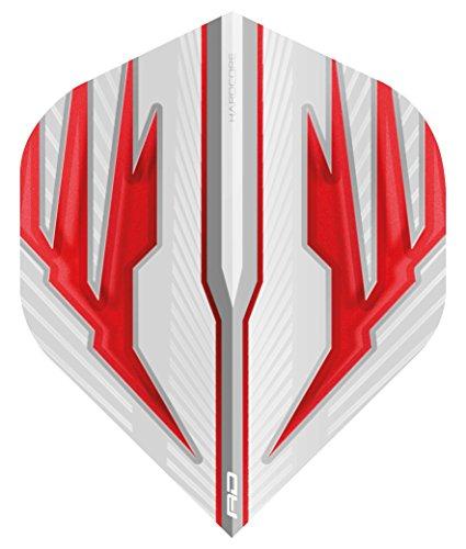 RED DRAGON Hardcore Radical Weiß und Rot Extra Dicke Standard Dart Flights - 4 Sätze pro Packung (12 Flights insgesamt)
