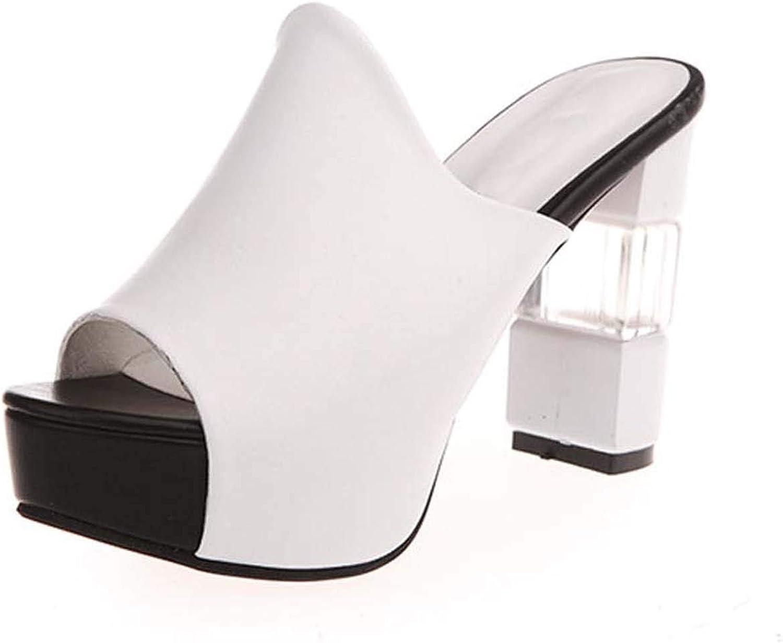 HuangKang Women Sandals High Heel shoes Platform Summer shoes Solid Peep Toe Leather Sandal Women Slippers