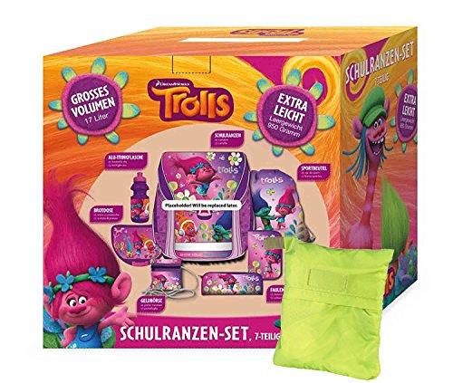 STYLEX Trolls Schulranzen-Set, 8-teilig Schulranzen, 39 cm, 20 L, Pink Regenhüllen Kit inkl. Sicherheits-Regenhülle