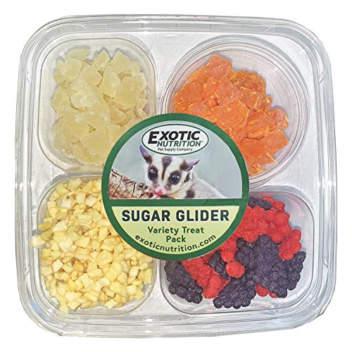 Sugar Glider Treat Variety Pack (9.5 oz.) - Healthy Natural Sugar Glider Treat Assortment - Yogurt Drops, Crunchez Berry Blend, Dried Papaya, Dried Pineapple - Sampler Variety Value Package