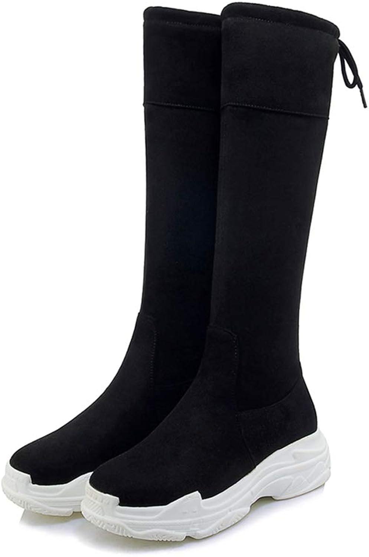 da68fedc87 T-JULY Women Winter Over The Knee Boots Round Toe Cross Tied Footwear  Stretch Flat