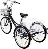 "Yonntech 24"" 7 Speeds Gears 3 Wheel Bicycle for Adults Adult Tricycle Bike"