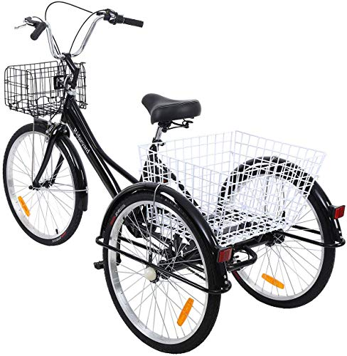 Yonntech 24 Zoll Zahnräder Dreirad für Erwachsene 7 Gänge Erwachsenendreirad Shopping mit Korb 3 Rad Fahrrad für Erwachsene Adult Tricycle Comfort Fahrrad Outdoor Sports City Urban (Schwarz)