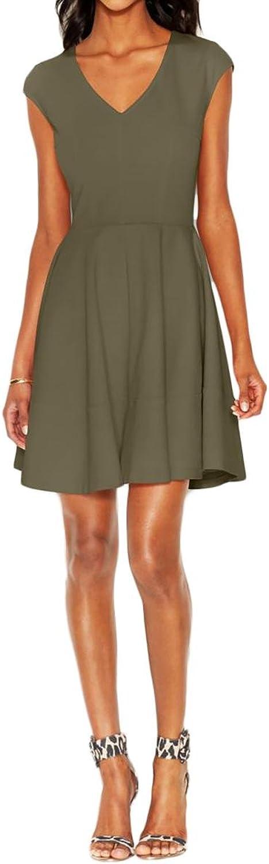 Bar III Green Women's Size XL Sheath Solid VNeck Seamed Dress