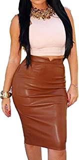 Pencil Skirts for Women PU Leather Midi Bodycon Skirt Below Knee Length Casual Slim Clubwear(5 Colors,S-L)