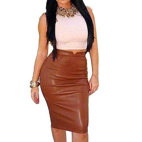8d169c4a7 Romacci Pencil Skirts for Women PU Leather Midi Bodycon Skirt Below Knee  Length Casual Slim Clubwear