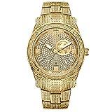 JBW Luxury Men's Jet Setter GMT J6370A 1.00 Karat Diamond Wrist Watch with Gold-Plated Stainless Steel Bracelet