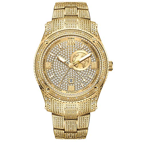JBW Luxury Men's Jet Setter GMT J6370A 1.00 Karat Diamond Wrist Watch with Gold-Plated Stainless...
