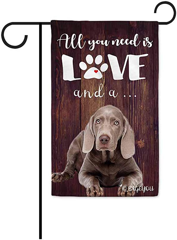 Bageyou All You Need Is Love And A Dog Weimaraner Decorative Garden Flag For Outside Cute Puppy Paws Wooden Background 12 5x18 Inch Printed Double Sided Garden Outdoor