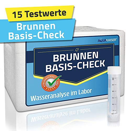 Aquakaiser Basis Wassertest für Brunnen – Trinkwassertest auf chemische Inhaltsstoffe – inkl. Kühlbox und Laboranalyse