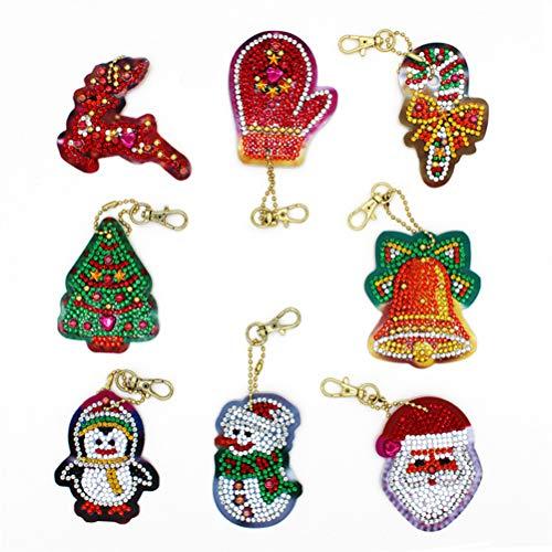 CLFYOU Diamond Painting Set, Diy Christmas Diamond Painting Key Chain Art Craft Key Chain Pendant Lovely Portable Christmas Key Ring.