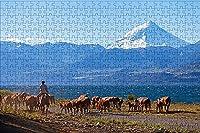 LHJOY ハードジグソー500ピースジグソーパズルキャトルアルゼンチンパタゴニア山脈ネイチャーリバーアニマルバースデーギフトと子供向けホリデーギフト 52x38cm