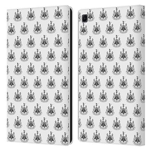 Head Case Designs Oficial Newcastle United FC NUFC Blanco Cresta y Patrones Carcasa de Cuero Tipo Libro Compatible con Samsung Galaxy Tab S6 Lite