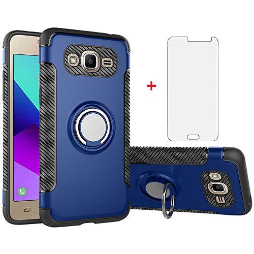Phone Case for Samsung Galaxy J3 2016/J 3 V/J36V/Sky/Amp Prime with Tempered Glass Screen Protector Cover and Stand Ring Holder Hybrid Cell Accessories Glaxay Sol J3V JV3 J36 6 J320V J320A Men Blue