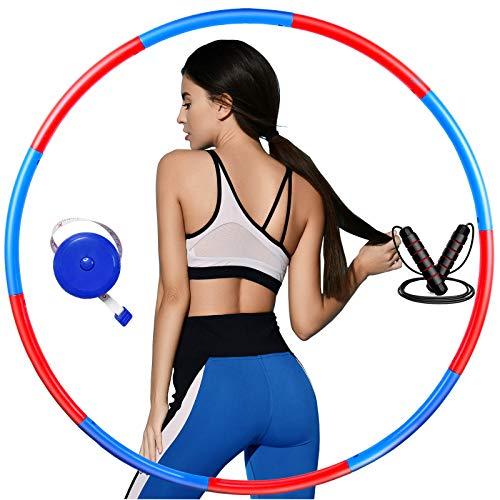 Hula Hoop Reifen Erwachsene/Kinder, Zur Gewichtsreduktion und Bauch Massage, Abnehmbarer Hoola Hoop Reifen für Zuhause, Fitness, Einstellbares Gewicht, mit Bandmaß und Springseil