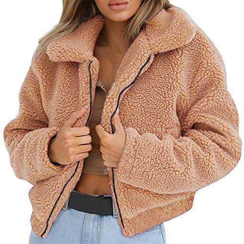 Lulupi Plüschjacke Damen Reißverschluss Pullover, Plüsch Mantel Künstliche Wolle Jacke Parka Outwear Frauen Kurze Coat Teddy Fleece Pulli