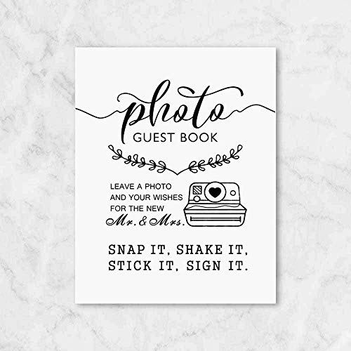 Photo Guest Book Leave A Photo  Wishes for The New Mr and Mrs  Wedding Guest Book  Wedding Signs  8x10 Inch Unframed