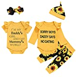 Dramiposs Baby Girl Daddy's Girl and Mommy's World Outfit Newborn Sunflower Pant Clothing Set (Yellow,0-3 Months)