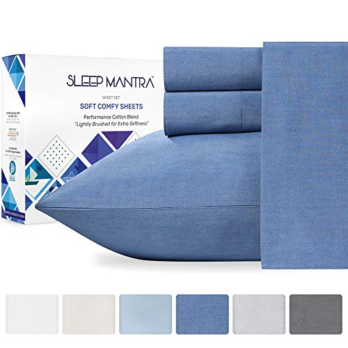 Full Sheet Set Navy Blue - 4 Piece Cotton Rich Breathable Sheet Set, Durable Percale Weave Bedding, Elasticized 14 Inch Deep Pocket Fits Low Profile Foam and Tall Mattresses