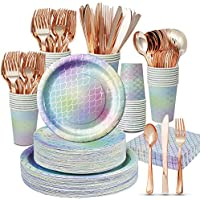 350-Pieces Extra Charm Decorations Plates Disposable Dinnerware Set