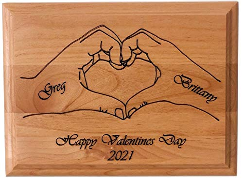 santaornaments Personalized Wood Plaque with Heart Valentines Day Anniversary BFF Gift for Him Her