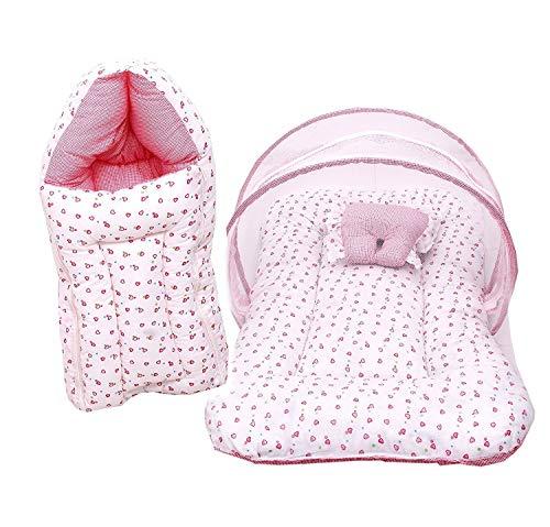 Fareto Baby Gift Pack Set Mattress with Net & Sleeping Bag(0-6 Months) Pink