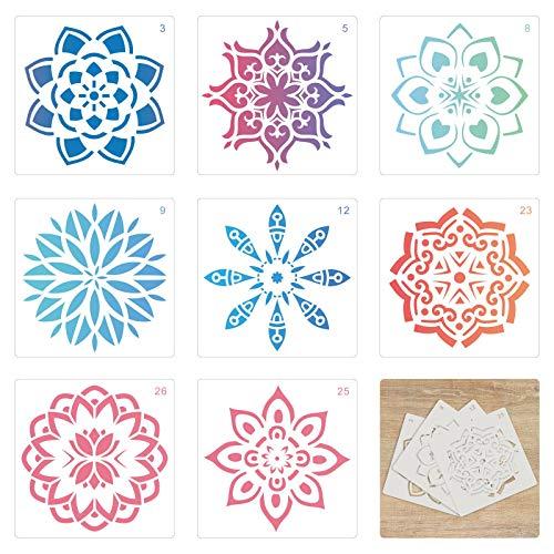 TAZEMAT 36 Stück Mandala Schablone Vorlage Wiederverwendbare-Mandala-Schablonen 13 x 13 cm Numerieren Mandala-Dotting-Schablonen Zeichenschablonen Muster Kunstwerkzeuge für Steine Keramik Wand Möbel