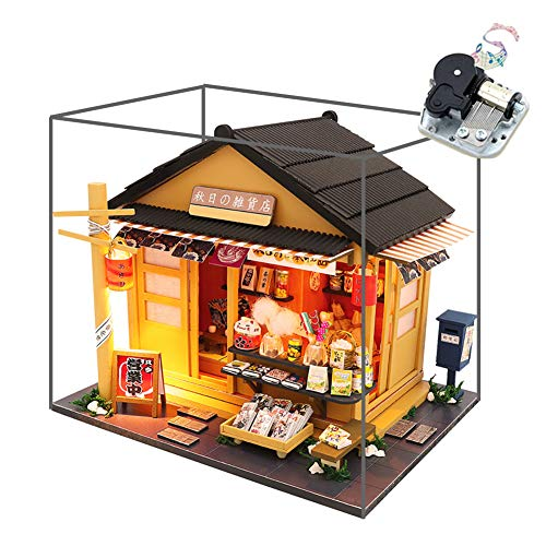 WYD Japanese Grocery Store Wooden Creative Doll House Store DIY Assembled Model Building Kawaii Puzzle with Dust Cover
