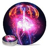 Posavasos de cerámica para bebidas, galaxia y medusas absorbentes de cerámica con parte trasera de corcho para tipos de tazas y tazas, posavasos de mesa redonda naranja y negro (juego de 6)