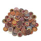 L.BAN 200Pcs Botones de Madera 25mm Forma Redonda Botones Mixtos Botones de Costura Hechos a Mano para artesanía Decoración Vestido de Bricolaje
