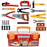 handy manny tools toys - WolVol 26-Piece Tool Box Set with Removable Tool Tray - Great Gift Toy for Boys