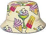 Sombrero de Navidad de Reno de Pan de Jengibre Unisex, Sombrero de Cubo de Viaje de bastón, Gorra de Pescador de Verano, Sombrero para el Sol, cuadrícula de Postre de Helado de Frutas