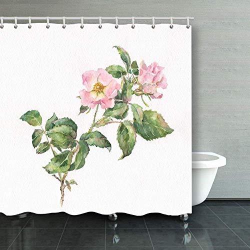 BGNHG Cortina de la Ducha Shower Curtain Wild Rose Hand Painted Waterc