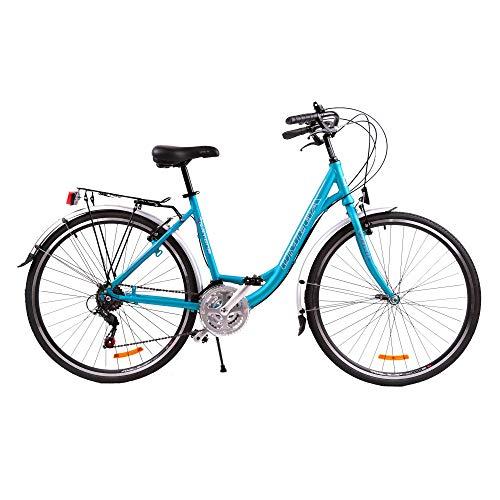 Bicicletta da Passeggio Strada per Donna Omega Ramona 28 Pollici,da Citta Shimano Telaio allumino Vintage Retro City Bike Economica con Freni Ruota Pedali Sella (Blu)
